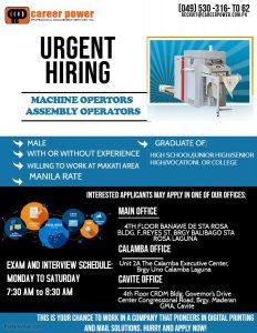 URGENT HIRING MACHINE & ASSEMBLY OPERATORS | Career Power